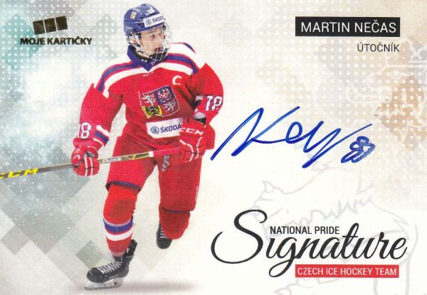 AUTO karta MARTIN NEČAS 17-18 Czech Ice Hockey Team National Pride Signature /10