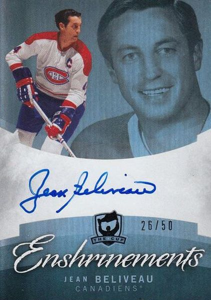 AUTO karta JEAN BELIVEAU 12-13 UD The CUP Enshrinements /50