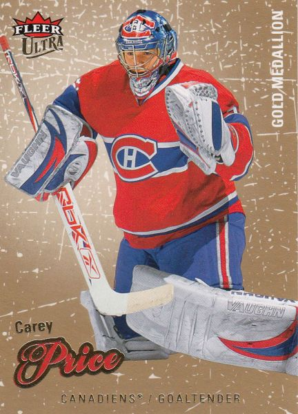 paralel karta CAREY PRICE 08-09 Fleer Ultra Gold Medallion číslo 33