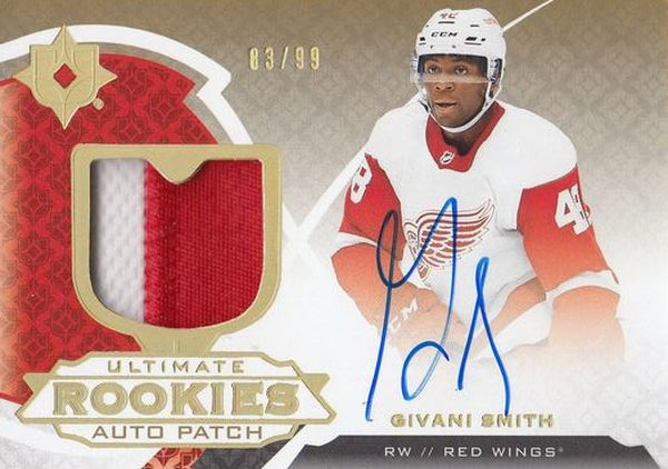 AUTO RC patch karta GIVANI SMITH 19-20 UD Ultimate Rookies Auto Patch /99