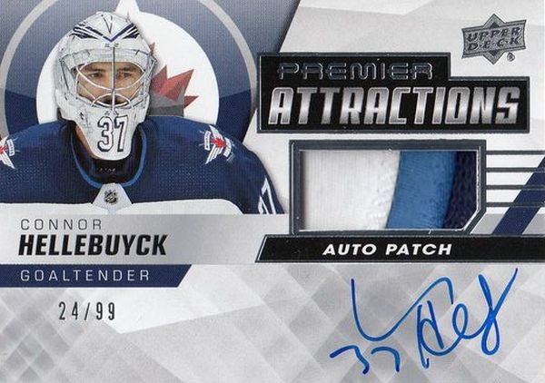 AUTO patch karta CONNOR HELLEBUYCK 19-20 UD Premier Attractions Auto Patch /99