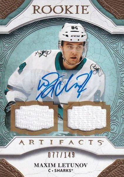 AUTO jersey RC karta MAXIM LETUNOV 20-21 Artifacts Rookie Auto Material /149