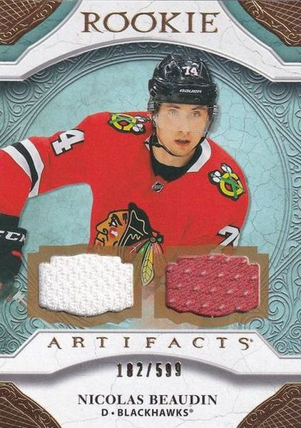 jersey RC karta NICOLAS BEAUDIN 20-21 Artifacts Rookie Material Gold /599