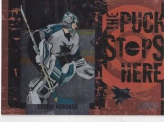 insert karta EVGENI NABOKOV 02-03 Topps Stadium Club The Puck Stops Here