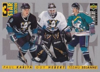 insert karta KARIYA/HEBERT/SELANNE 96-97 Coll. Choice 3 Star Selection číslo 309