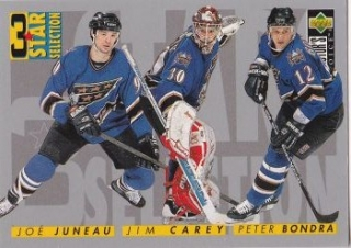 insert karta JUNEAU/CAREY/BONDRA 96-97 Coll. Choice 3 Star Selection