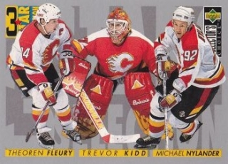 insert karta FLEURY/KIDD/NYLANDER 96-97 Coll. Choice 3 Star Selection
