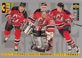 insert karta STEVENS/BRODEUR/THOMAS 96-97 Coll. Choice 3 Star Selection