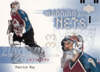 insert karta PATRICK ROY 01-02 Mask Collection Manning the Nets číslo 108