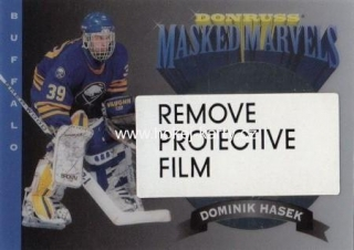 insert karta DOMINIK HAŠEK 94-95 Donruss Masked Marvels číslo Three of Ten