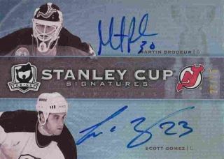 AUTO karta BRODEUR/GOMEZ 09-10 UD The Cup Stanley Cup Signatures /25