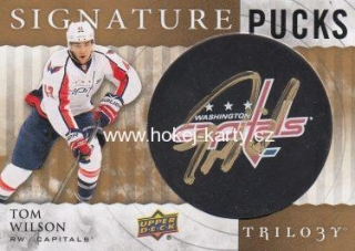 AUTO karta TOM WILSON 14-15 Trilogy Signature Pucks číslo SP-TW