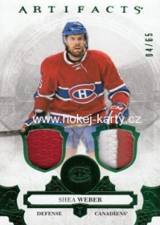 jersey patch karta SHEA WEBER 17-18 Artifacts Emerald /65