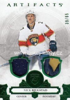 jersey patch karta NICK BJUGSTAD 17-18 Artifacts Emerald /65