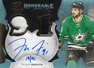 AUTO patch karta TYLER SEGUIN 16-17 UD The Cup Honorable Numbers /91