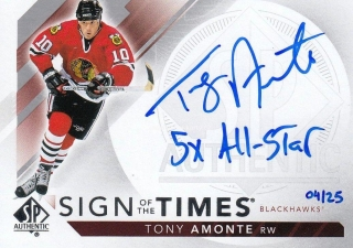 AUTO karta TONY AMONTE 17-18 SP Authentic Sign of the Times Inscribed /25