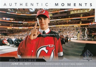 insert RC karta NICO HISCHIER 17-18 SP Authentic Authentic Moments číslo 115