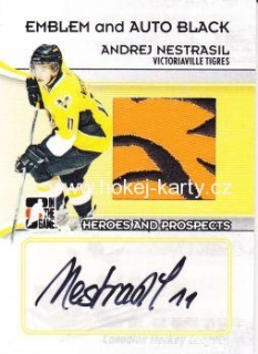 AUTO patch karta ANDREJ  NESTRAŠIL 09-10 Heroes and Prospects Black /6