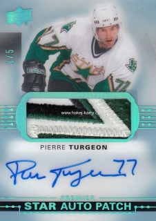 AUTO patch karta PIERRE TURGEON 17-18 UD Premier Acetate Star Platinum Blue /5